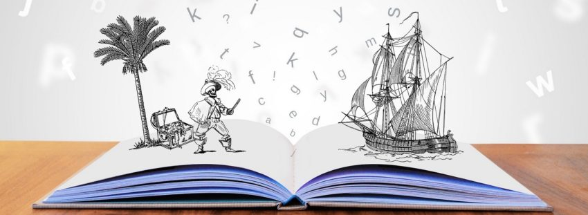 Image of open kids book with pirate, palm tree and pirate ship